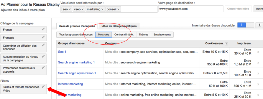 Display planner adwords